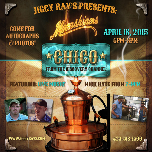 Moonshiner's Chico is coming to Jiggy Ray's Pizzaria!